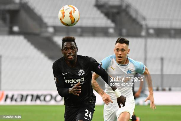 Frankfurt's German defender Danny da Costa vies for the ball with Marseille's Argentine midfielder Lucas Ocampos during the UEFA Europa League Group...