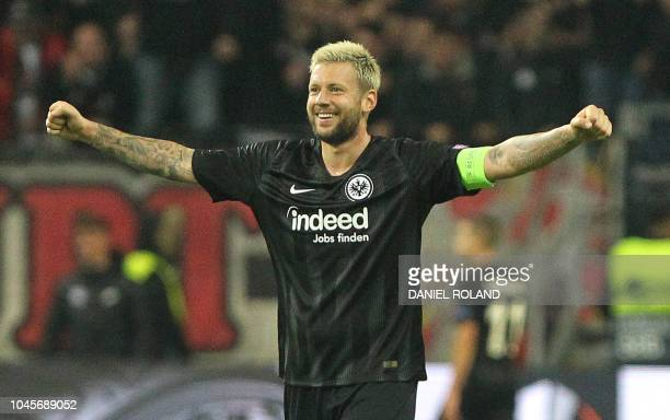 Frankfurt's German defender Marco Russ celebrates after they scored during the UEFA Europe League Group H football match Eintracht Frankfurt v Lazio...