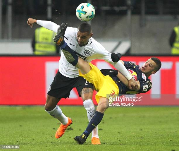 Frankfurt's Ghanaian midfielder KevinPrince Boateng and Leipzig's German midfielder Diego Demme vie for the ball during the German First division...