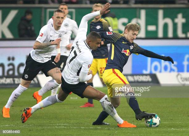 Frankfurt's Ghanaian midfielder KevinPrince Boateng and Leipzig's Swedish midfielder Emil Forsberg vie for the ball during the German First division...