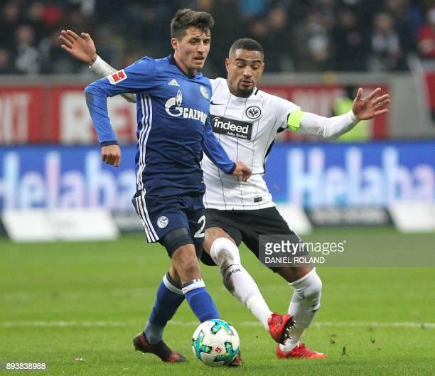 Frankfurt's Ghanaian midfielder KevinPrince Boateng and Schalke's Austrian midfielder Alessandro Schoepf vie for the ball during the German first...