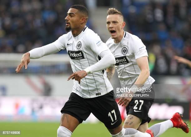 Frankfurt's Ghanaian midfielder KevinPrince Boateng celebrates scoring the 10 next to Frankfurt's German midfielder Marius Wolf during the German...