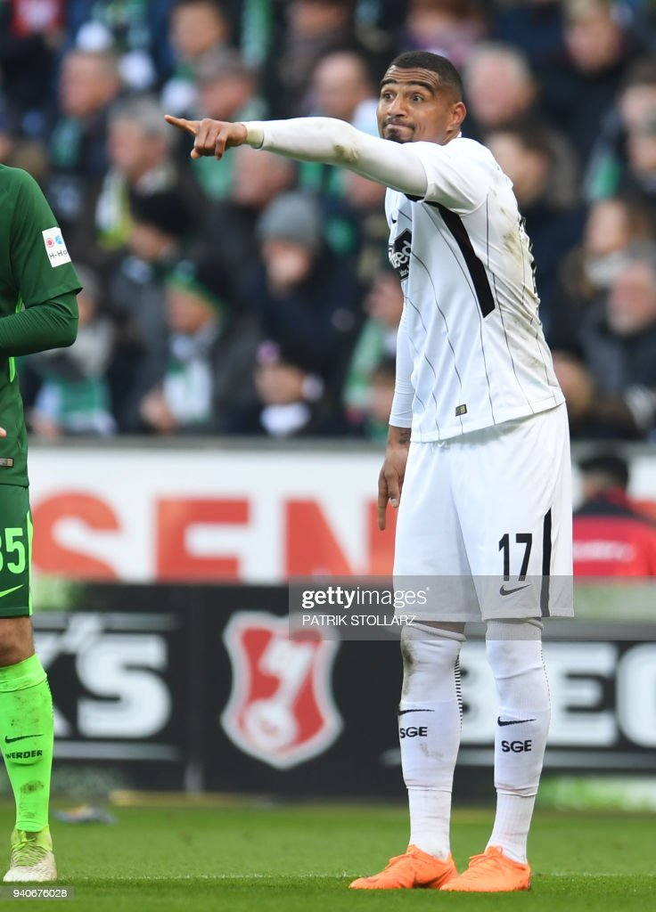 Frankfurt's Ghanaian midfielder Kevin-Prince Boateng reacts during the German first division Bundesliga football match Werder Bremen vs Eintracht Frankfurt, in Bremen, northern Germany, on April 1, 2018. / AFP PHOTO / Patrik