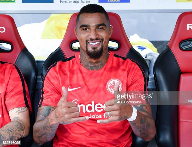 Frankfurt's Ghanaian midfielder KevinPrince Boateng thumbs up prior to the German First division Bundesliga football match SC Freiburg v Eintracht...