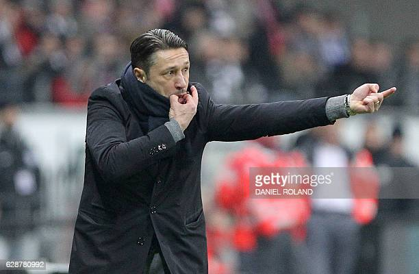 Frankfurt's head coach Niko Kovac reacts during the German first division Bundesliga football match between Eintracht Frankfurt and TSG 1899...