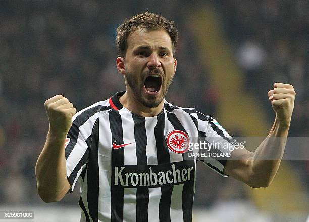 Frankfurt's Hungarian midfielder Szabolcs Huszti celebrates scoring the opening goal during the German first division Bundesliga football match...