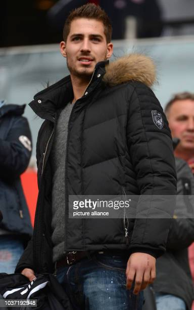 Frankfurt's injured goalkeeper Kevin Trapp stands in the stands before the start of the Bundesliga soccer between Eintracht Frankfurt and Bayern...