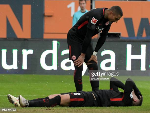 Frankfurt's KevinPrince Boateng bends over Luka Jovic after the match in Augsburg Germany 4 February 2018 Photo Stefan Puchner/dpa