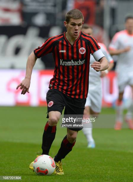 Frankfurt's Sebastian Jung plays the ball during the Bundesliga soccer between Eintracht Frankfurt and Bayern Munich at Commerzbank Arena in...