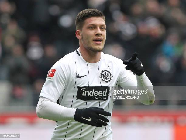 Frankfurt's Serbian forward Luka Jovic celebrate scoring the 20 during the German First division Bundesliga football match Eintracht Frankfurt vs...