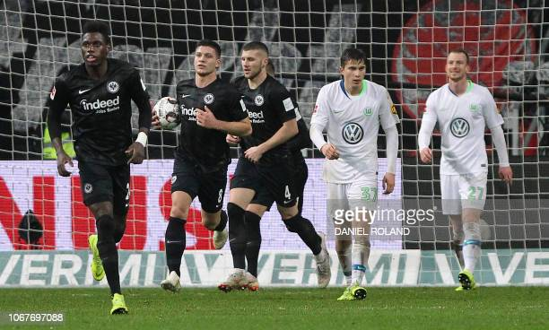 Frankfurt's Serbian forward Luka Jovic celebrates after scoring the 12 during the German first division Bundesliga football match between Eintracht...