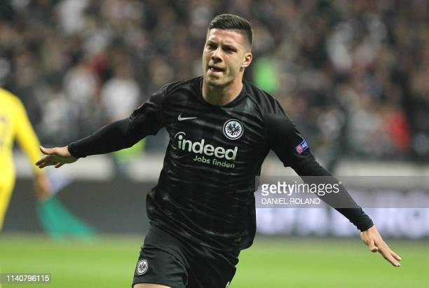 Frankfurt's Serbian forward Luka Jovic celebrates scoring the opening goal during the UEFA Europa League semifinal first leg football match Eintracht...