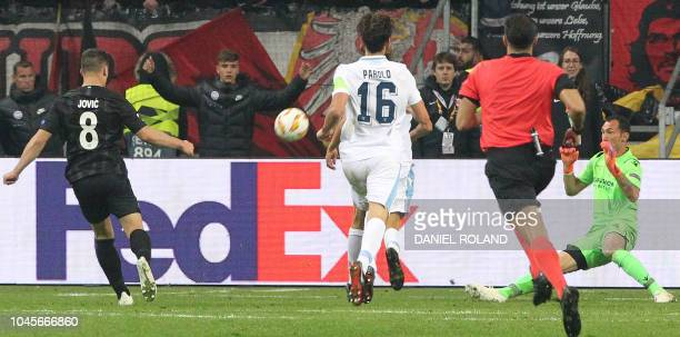 Frankfurt's Serbian forward Luka Jovic scores the 31 during the UEFA Europe League Group H football match Eintracht Frankfurt v Lazio Rome in...