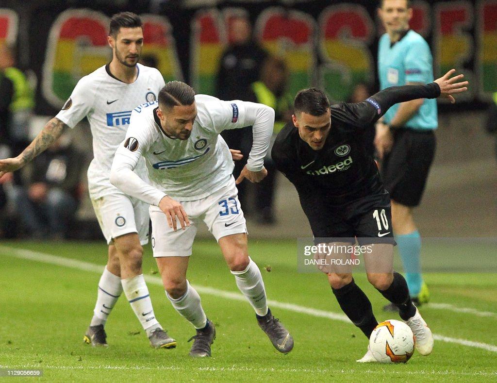 Frankfurt's Serbian midfielder Filip Kostic and Inter Milan's Italian...  News Photo - Getty Images