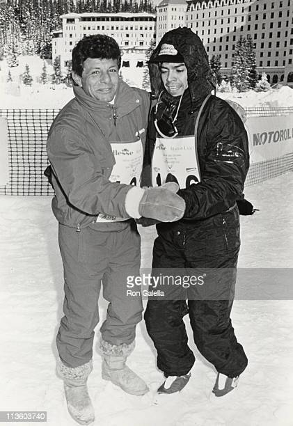Frankie Avalon and Esai Morales during Chateau Lake Louise Centennial Celebrity Sports Invitational at Chateau Lake Louise in Lake Louise Alberta...