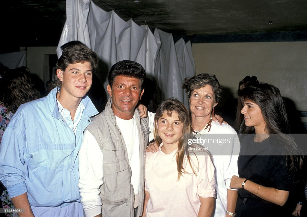 Frankie Avalon and family during Starlight Foundation Benefit - September 22, 1988 at Ed Debevic's Restaurant in Beverly Hills, California, United States.