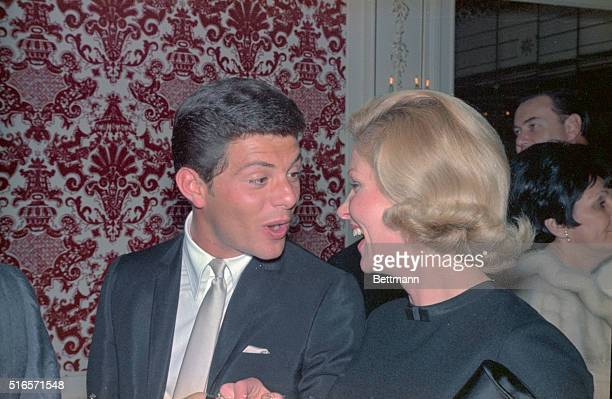 Frankie Avalon and his wife who were among those celebrities attending Paul Anka's opening at the Ambassador's Cocoa Nut Grove