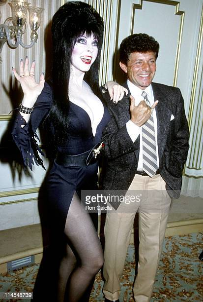 Frankie Avalon Cassandra Peterson during Elvira Perfumes Press Conference at Beverly Wilshire Hotel in Beverly Hills California United States