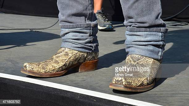 Frankie Ballard, shoe detail, perform during day 3 of Stagecoach California's Country Music Festival at The Empire Polo Club on April 26, 2015 in...