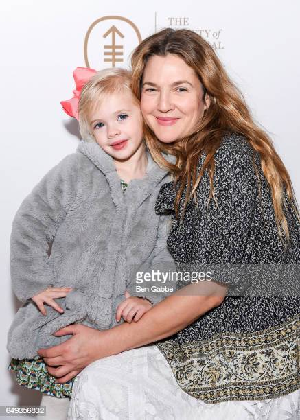 Frankie Barrymore Kopelman and actress Drew Barrymore at The Society of MSK's 2017 Bunny Hop at 583 Park Avenue on March 7 2017 in New York City
