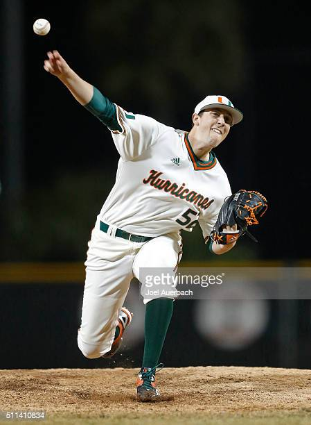 Frankie Bartow of the Miami Hurricanes throws the ball against the Rutgers Scarlet Knights on February 19 2016 at Alex Rodriguez Park at Mark Light...