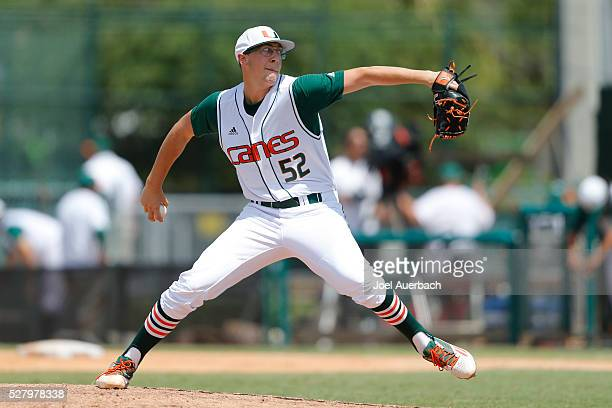 Frankie Bartow of the Miami Hurricanes throws the ball against the Florida AM Rattlers during seventh inning action on May 1 2016 at Alex Rodriguez...