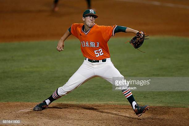 Frankie Bartow of the Miami Hurricanes throws the ball against the Pittsburgh Panthers during eighth inning action on May 13 2016 at Alex Rodriguez...