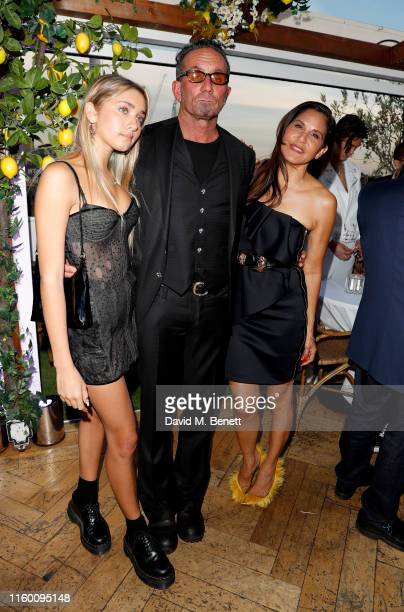 Frankie Belle Stark, Richard Stark and Laurie Lynn Stark attend the Chrome Hearts fragrance launch party at Selfridges on July 04, 2019 in London,...