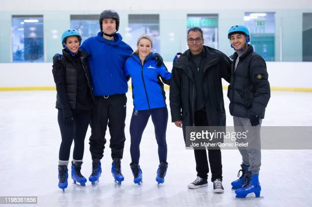Frankie Bridge Nick Grimshaw Elise Christie Krishnan GuruMurthy and Karim Zeroual pose as they train on an ice rink for Sport Relief On Thin Ice as...