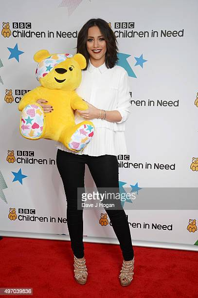 Frankie Bridge shows her support for BBC Children in Need at Elstree Studios on November 13 2015 in Borehamwood England