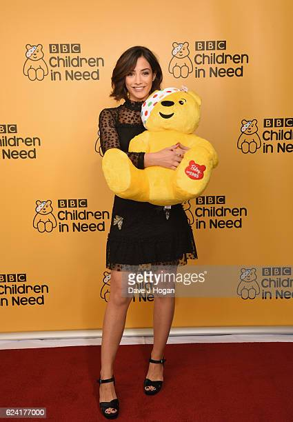 Frankie Bridge shows support for BBC Children in Need at Elstree Studios on November 18 2016 in Borehamwood United Kingdom