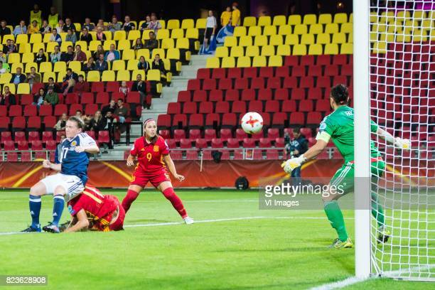 Frankie Brown of Scotland women Alexia Putellas of Spain women Maria Paz of Spain women goalkeeper Gemma Fay of Scotland women during the UEFA WEURO...
