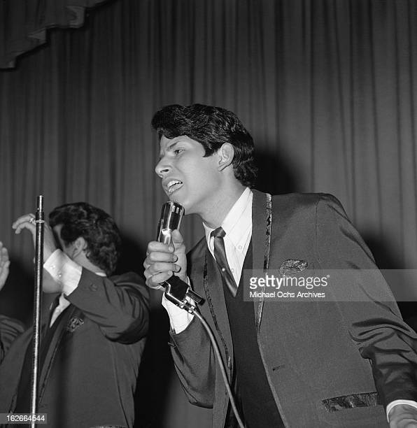 Frankie 'Cannibal' Garcia of the rock group Cannibal the Headhunters performs on the TV show 'Hollywood a Go Go' in 1965 in Los Angeles California