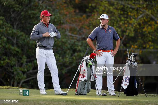 Frankie Capan of the Alabama Crimson and Wells Padgett of the Auburn Tigers wait to tee off the 14th hole during day three of the 2018 East Lake Cup...