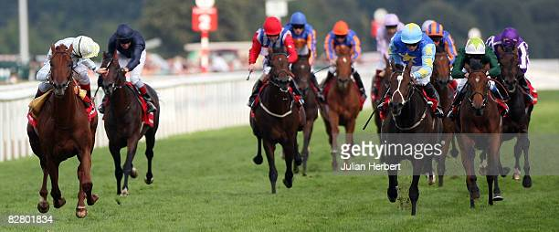 Frankie Dettori and Conduit land The Ladbrokes St. Leger Stakes Race run at Doncaster Racecourse on September 13 in Doncaster, England.