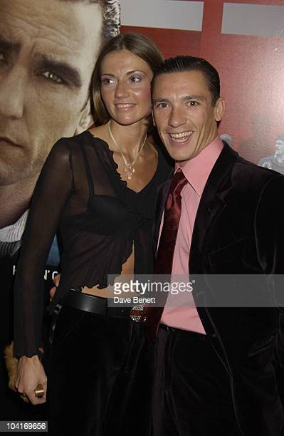 Frankie Dettori And His Wife Mean Machine Movie Premiere Held At The Odeon Cinema In Kensington London