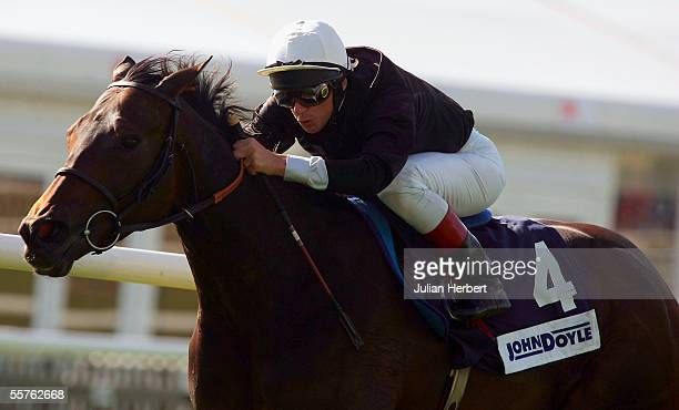 Frankie Dettori and Ouija Board score an easy victory in The Princess Royal John Doyle Stakes Race run at Newmarket Racecourse on September 24 2005...