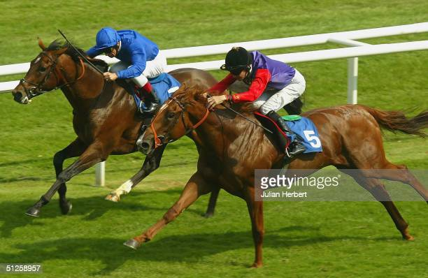 Frankie Dettori and the Godolphin trained Humourous get the better of the Richard Hughes ridden Forward Move to land Division Two of The RUKBA Senate...