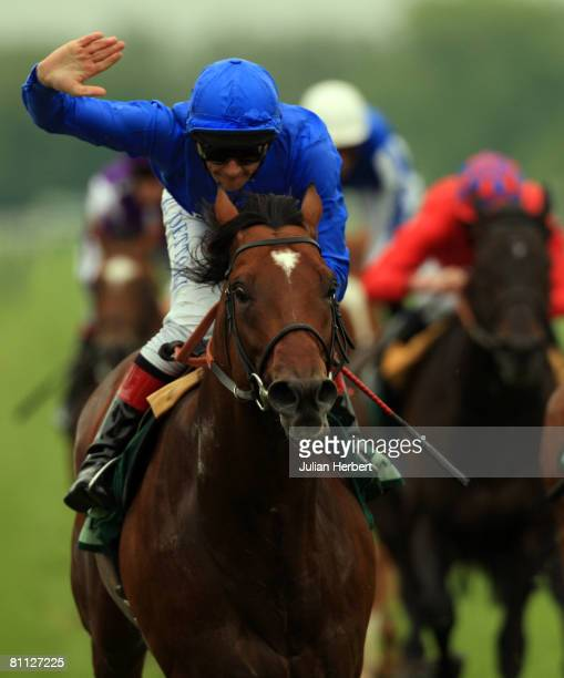 Frankie Dettori and The Godolphon trained Creachadoir land The Juddmonte Lockinge Stakes Race run at Newbury Racecourse on May 17 in Newbury England