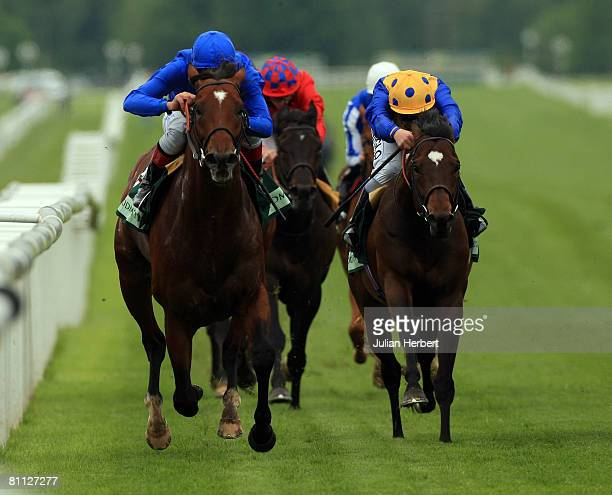 Frankie Dettori and The Godolphon trained Creachadoir land The Juddmonte Lockinge Stakes Race run at Newbury Racecourse on May 17 in Newbury England