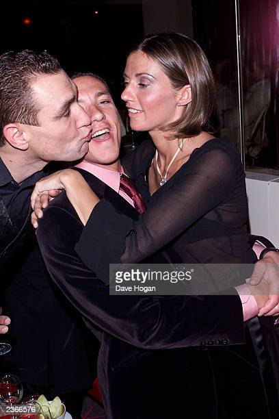 Frankie Dettori and wife Cathrine with a kissing vinny at''The Mean Machine '' Party 12/18/01 photo by Dave Hogan/Mission Pictures/Getty Images