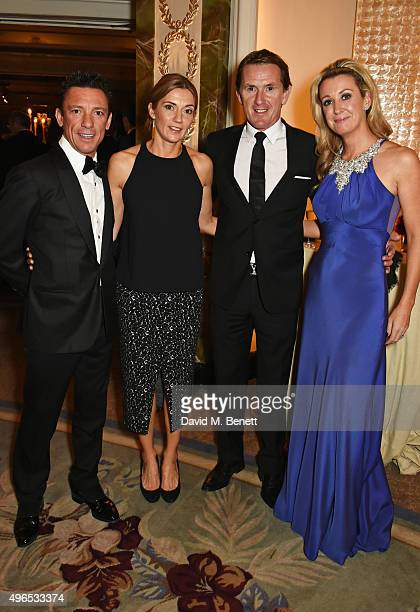 Frankie Dettori Catherine Dettori Tony McCoy aka AP McCoy and wife Chanelle McCoy attend the 25th Cartier Racing Awards at The Dorchester on November...