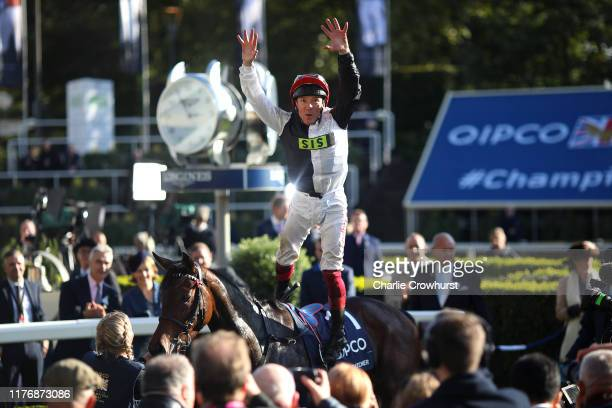 Frankie Dettori celebrates after he rides Star Catcher to win The QIPCO British Champions Fillies & Mares Stakes during the QIPCO British Champions...