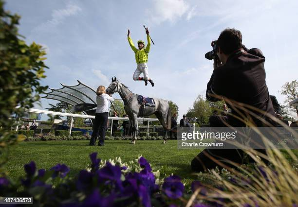 Frankie Dettori celebrates after ridding Tac De Boistron to victory in The Longines Sagari Stakes at Ascot racecourse on April 30, 2014 in Ascot,...