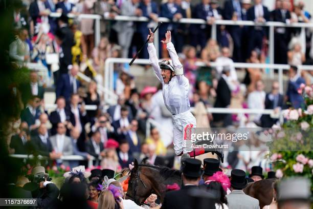 Frankie Dettori celebrates after riding Advertise to win The Commonwealth Cup on day four of Royal Ascot at Ascot Racecourse on June 21, 2019 in...