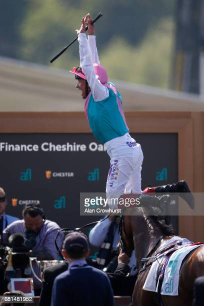 Frankie Dettori celebrates after riding Enable to win The Arkle Finance Cheshire Oaks at Chester Racecourse on May 10 2017 in Chester England