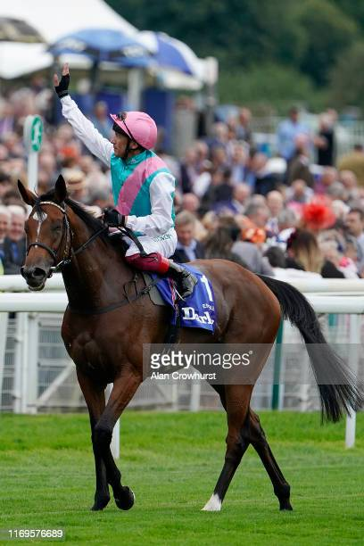 Frankie Dettori celebrates after riding Enable to win The Darley Yorkshire Oaks at York Racecourse on August 22 2019 in York England