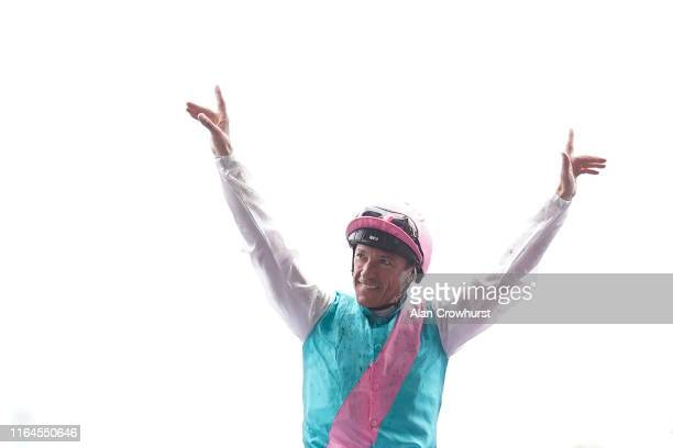 Frankie Dettori celebrates after riding Enable to win The King George VI And Queen Elizabeth Qipco Stakes at Ascot Racecourse on July 27, 2019 in...