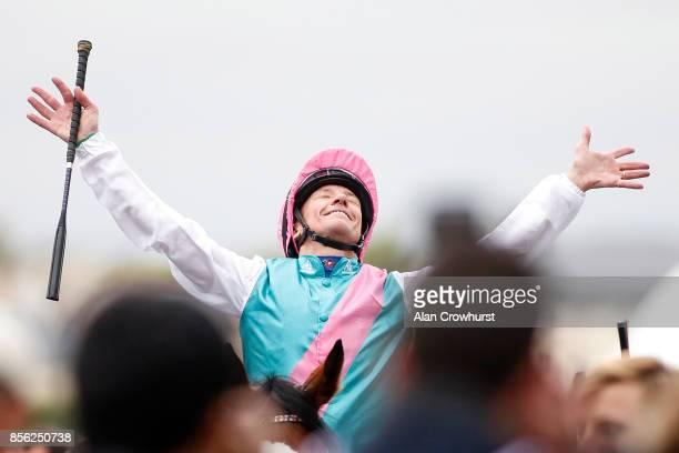 Frankie Dettori celebrates after riding Enable to win The Prix de l'Arc de Triomphe during Prix de l'Arc de Triomphe meeting at Chantilly Racecourse...