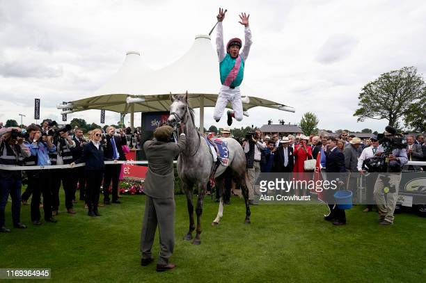 Frankie Dettori celebrates after riding Logician to win The Sky Bet Great Voltigeur Stakes at York Racecourse on August 21, 2019 in York, England.
